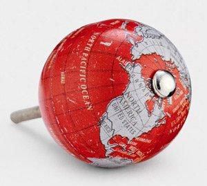 Aluminium-round-world-map-knob