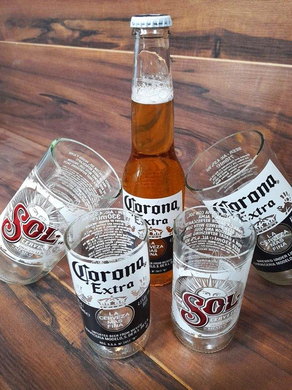 Upcycled-Corona-Sol-bottle-glasses